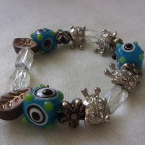 Jewelry - Ladybug lampwork bead and nature bracelet
